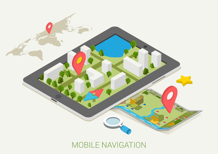Flat 3d isometric mobile GPS navigation maps infographic concept vector. Tablet with digital satellite map, paper map with marker, search magnifier glass, world silhouette pin. Ilustração