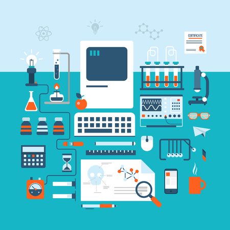 equipment: Science technology research laboratory workspace modern flat design style. Table on physics, pharmaceutics, chemistry, medical or biology experiment laboratory. Electronic device, flask tube icon set.