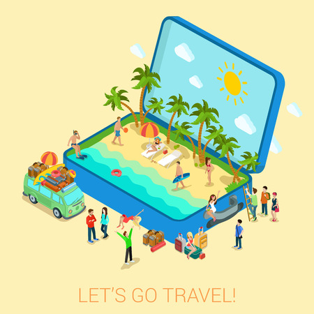 sunny beach: Summertime travel beach vacation flat 3d web isometric infographic tourism concept vector template. Open suitcase with seashore hippie van surfer young girls in bikini. Creative people collection. Illustration