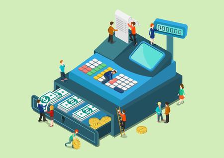 Flat 3d web isometrico piccolo popolo in grande macchina del registratore di cassa oversize concetto infografica vettore. Mini personaggi umani favolosi finanziare la vendita al dettaglio concetto monetaria. Collezione persone creative.
