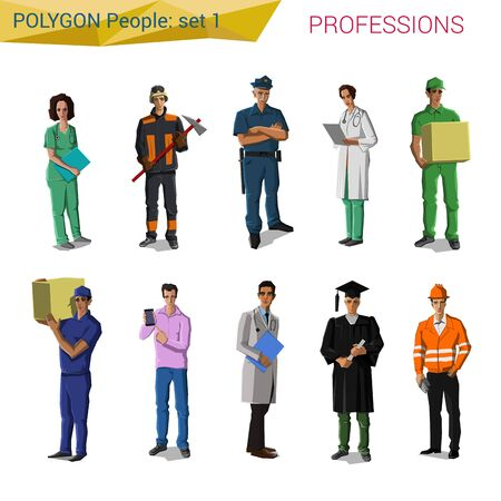 pitman: Polygonal style professionals set. Doctor, miner, policeman, delivery man, engineer, student, builder. Polygon people collection.
