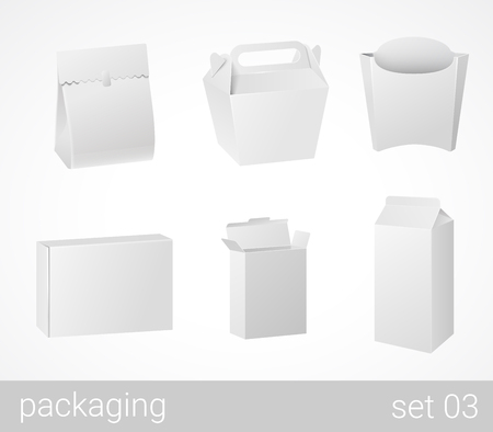 Chineese thai food and drink plastic and carton cardboard package set. Blank white packaging objects isolated on white vector illustration.