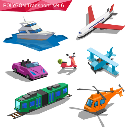 cabrio: Polygonal style vehicles vector icon set. Yacht, airplane, cabriolet, bike, train, helicopter. Polygon transport collection. Illustration