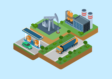 gas station: Oil production process cycle flat 3d web isometric infographic concept vector. Oil extraction derrick, refinery, logistics delivery by tank car tanker, gas petrol refill station retail gasoline sale.
