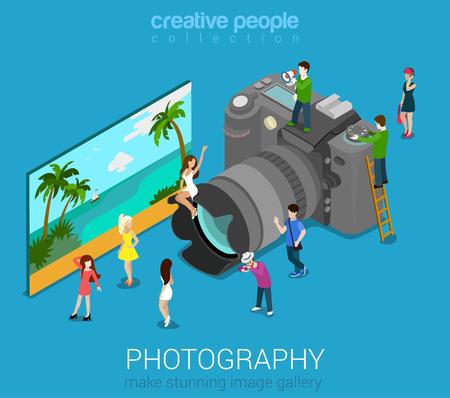 DSLR 사진 카메라 및 샘플 추상 그림에 마이크로 사람들. 플랫 3D 아이소 메트릭 웹 벡터 인포 그래픽입니다. 전문 디지털 사진 세션 개념. 창조적 인 사 일러스트