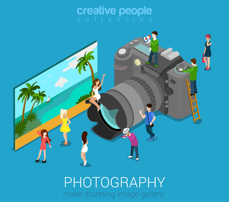Micro people on DSLR photo camera and sample abstract picture. Flat 3d isometric web vector infographic illustration. Professional digital photography session concept. Creative people world collection. Vettoriali