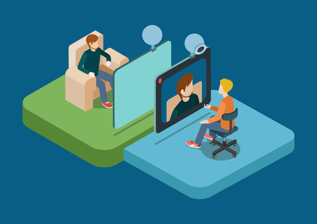 Video call chat conference flat 3d web isometric infographic concept vector. Two men speaking over web camera. Creative people collection.