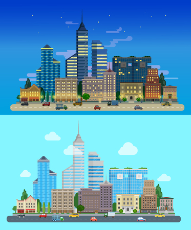 skyscraper: Flat cartoon city set day and night. Road highway avenue transport street traffic before line of buildings skyscrapers business center offices. Urban life lifestyle collection.