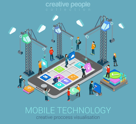 Mobile technology operating system creative process visualization flat 3d web isometric infographic concept vector template. Cranes placing building blocks mobile app icons to smartphone. Ilustracja