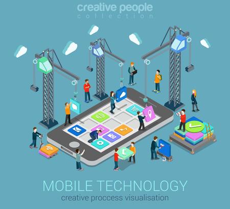 Visualização de processo criativo de sistema operacional móvel de tecnologia plana 3d web isométrica infográfico conceito vetor modelo. Guindastes colocando blocos de construção ícones de aplicativos móveis para smartphone.