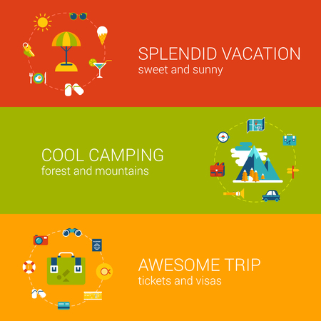 splendid: Flat travel, vacation, tourism and holiday concept icons in banners vector template set. Splendid trip, cool camping, awesome flight conceptual. Flat web illustration infographics elements collection. Illustration