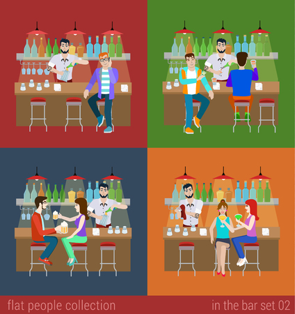 gente sentada: Conjunto de hombres jóvenes mujeres muchacha del muchacho de los amigos en la barra del bar y la preparación de barman copa de cóctel. Personas Piso situación de vida concepto. Ilustración vectorial colección de seres humanos creativos jóvenes.