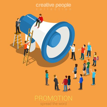 Promoción Social media marketing en línea plana 3d web isométrica infografía concepto de comunicación la tecnología moderna. Enormes altavoz micro gente escuchando. Difundir la palabra. Colección de la gente creativa.