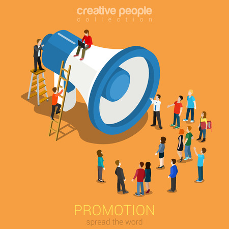 Social media promotie online marketing vlakke 3d web isometrische infographic moderne technologie communicatie concept. Enorme luidspreker micro mensen luisteren. Vertel het verder. Creatieve mensen collectie. Stock Illustratie