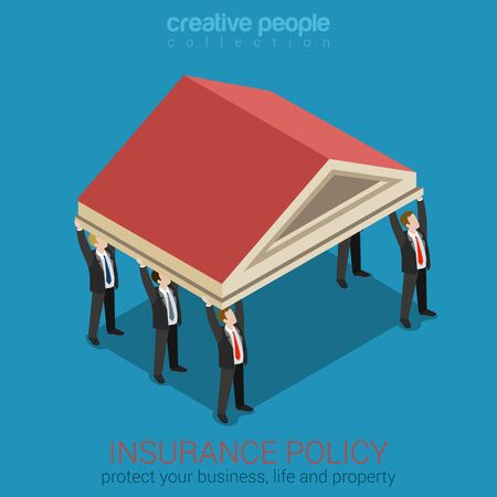 protecting your business: Insurance policy protecting your business flat 3d isometric