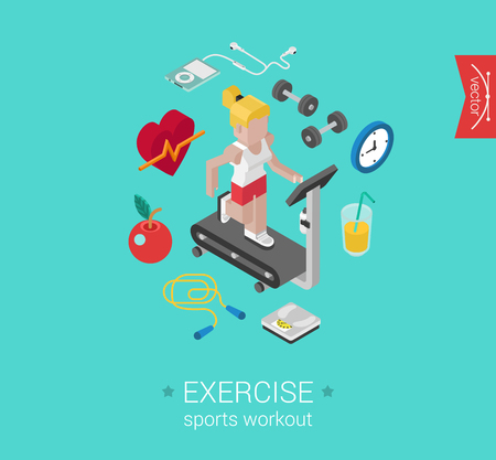 sports track: Sport exercise workout flat 3d isometric modern design concept vector icon collage. Female sports woman on treadmill running on race track. Web illustration nad website infographics elements. Illustration