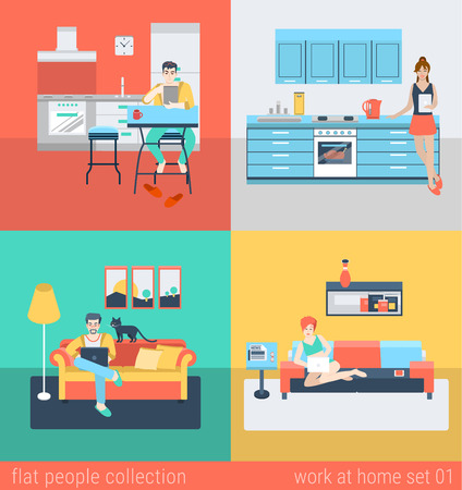 Set of young man woman freelance homework in kitchen living room sofa. Flat people lifestyle situation work at home concept. Vector illustration collection of young creative humans.
