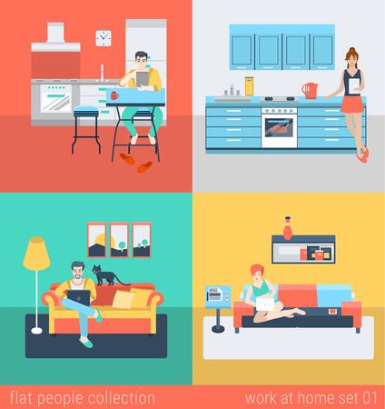 Set van de jonge man vrouw freelance huiswerk in de keuken bank in de woonkamer. Plat mensen lifestyle situatie werk thuis concept. Vector illustratie collectie van jonge creatieve mensen.