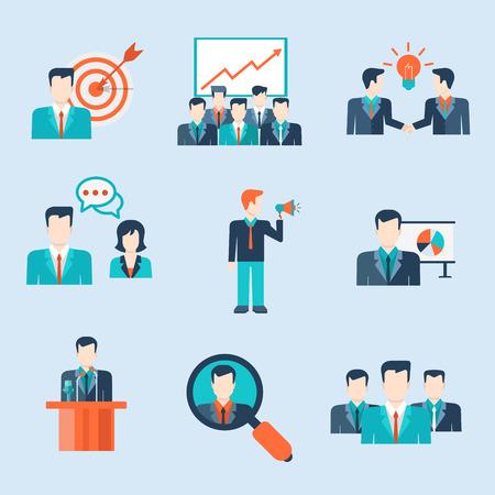 trabajo en equipo: La gente moderna de estilo Flat iconos hombre situaciones de negocios web plantilla infografía vector icon set. Empresarios iconos mujeres estilo de vida. Trabajo en equipo, mano de obra, la colaboración, el liderazgo, la promoción, el concepto de recursos humanos. Vectores