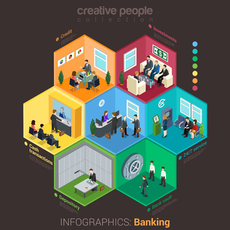 bank money: Banking bank finance infographics flat 3d isometric style. Interior room cell customer client visitor staff concept vector. Credit investment cash depository vault. Creative business people collection