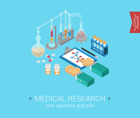 science icons: Medical research flat 3d isometric pixel art modern design concept vector icons composition. Medicine, molecular science experiment, new cure, technology. Web flat illustration infographic collection. Illustration