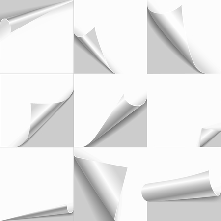 new corner: Creative page curl rolled set. Web background templates of empty white paper with flip edges. Copy space for text, logo, header, product.