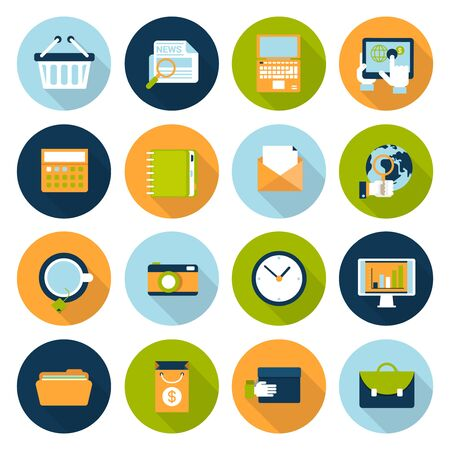 Establece banda plana icono de la infografía. El negocio en línea, comercio electrónico, la tecnología, los iconos de Internet. Carro de compras, noticias, ordenador portátil, tableta, agenda, correo electrónico, globo, cámara, reloj, informe, carpeta, bolso y el maletín. Foto de archivo - 48577660