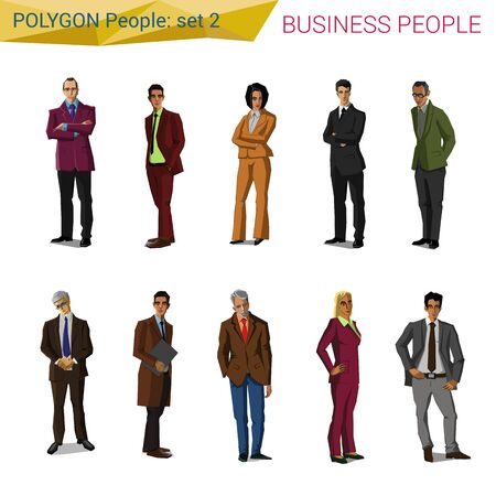 Polygonal style standing business people set. Polygon people collection.