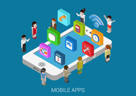 installing: Flat style 3d isometric vector illustration concept of smart phone with micro people and casual, social media apps icons. Concept for mobile applications, development, downloading, installing, usage.