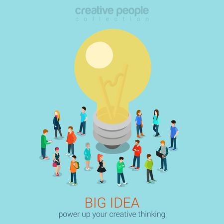 平らな 3 d をブレーンストーミングの大きなアイデア web インフォ グラフィック等尺性概念ベクトル。カジュアルな男性女性グループ抱擁ランプ電球