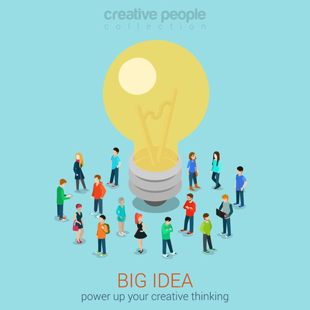 huge: Big idea brainstorming flat 3d web isometric infographic concept vector. Casual men women group around hug lamp light bulb. Creative people collection. Illustration