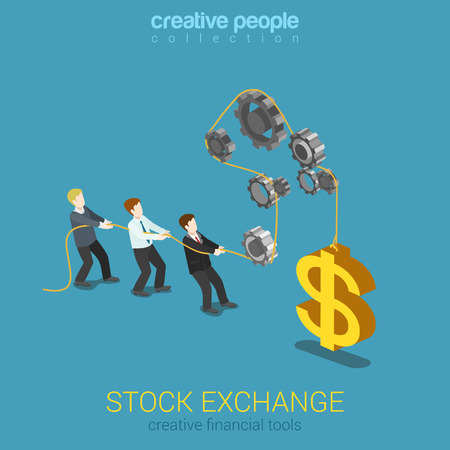 balance concept: Stock exchange finance instrument market tools balance flat 3d web isometric infographic concept vector. Businesspeople pulling cogwheel rope lifting up big dollar sign. Creative people collection.