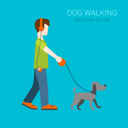 dog walking: Flat dog walking boy in headphones listening music. Creative people collection.