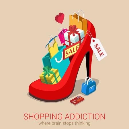 Cesta de la adicción a la venta la locura plana 3d web isométrica plantilla infografía vector de concepto. Enorme zapato rojo de gran tamaño completo de la bolsa de la caja de regalo de ropa de bienes tarjeta de crédito. Diseño creativo colección conceptual. Vectores