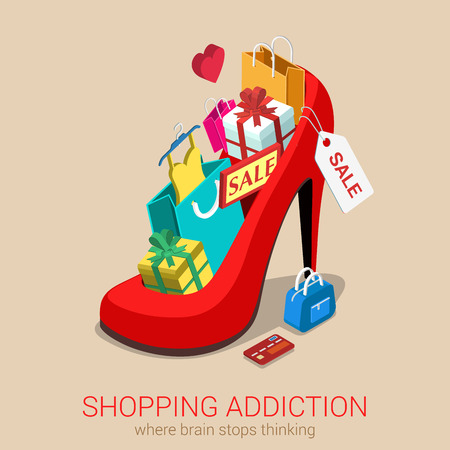clothes: Shopping addiction sale madness flat 3d isometric web infographic template vector concept. Huge oversized red shoe full of gift box goods clothes credit card bag. Creative design conceptual collection. Illustration