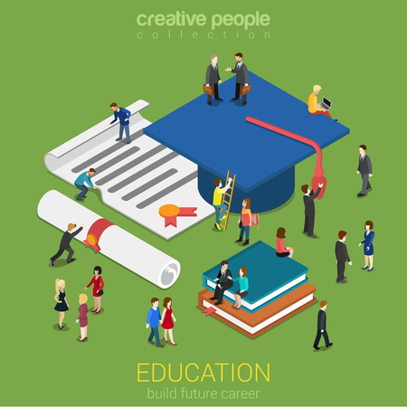 Education graduation license certificate flat 3d web isometric infographic concept vector. Micro people with big graduate cap books cert. Creative people collection. Иллюстрация