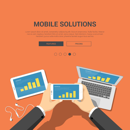 mobile solutions: Flat showcase mockup template for mobile solutions