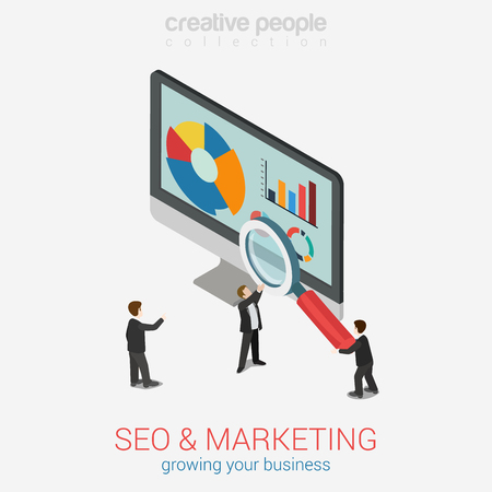 SEO marketing website analytics report flat 3d web isometric infographic concept vector. Micro businesspeople with magnifier glass deeply peer into data on desktop monitor. Creative people collection. Иллюстрация