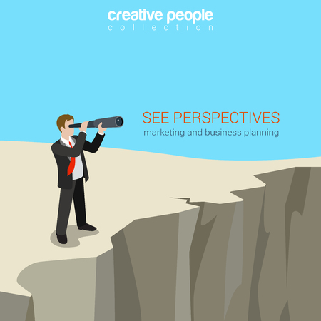 land owner: Flat style business perspectives web template concept vector Illustration