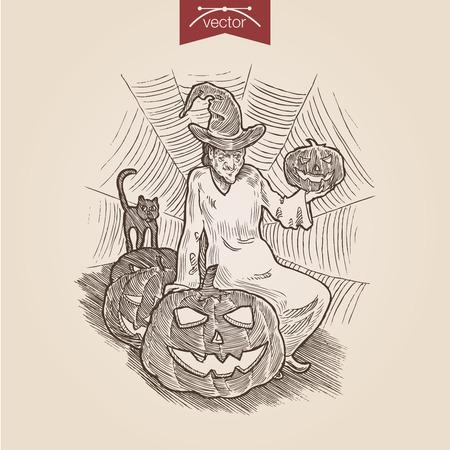 Halloween Sorciere Chat Citrouille Handdrawn Style De Gravure
