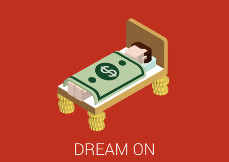 millionaire: Flat 3d isometric abstract sweet richness prosperity millionaire money dreams web concept vector icon. Prosperous man sleeping in bed with coin legs covered with US dollar banknote blanket.