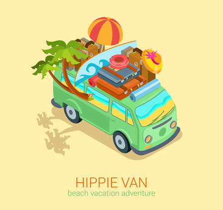 adventures: Hippie van travel beach adventure vacation flat 3d web isometric infographic concept vector. Minibus microbus bus vehicle suitcases surfboard palms sand and sea inside. Creative tourism collection. Illustration