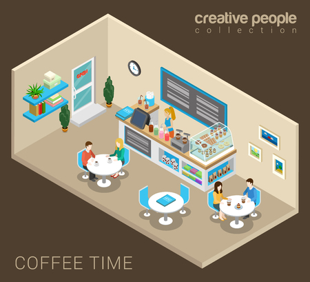 sales person: Coffee time abstract cafe concept flat 3d web isometric infographic vector. Couples sitting at tables drinking coffee. Creative people collection.