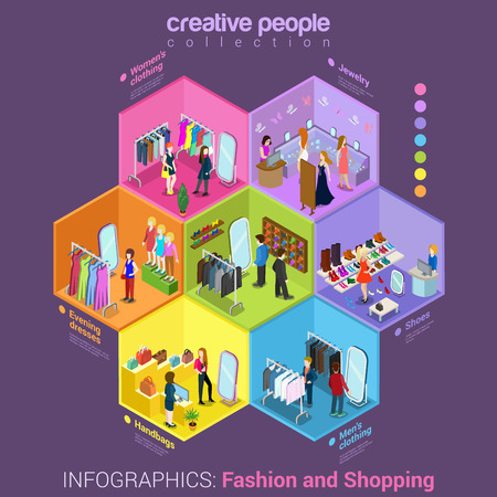woman closet: Flat 3d isometric fashion shopping mall cell abstract interior room customers clients buyers workers staff concept vector. Creative business people in cells collection. Illustration