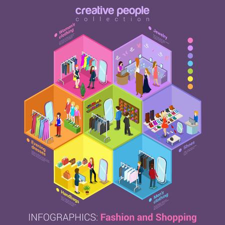 negozio: Flat 3d isometrico fashion shopping mall cella astratto clienti interni delle camere dei clienti acquirenti lavoratori concetto personale vettoriale. Uomini d'affari creativi della collezione cellule. Vettoriali