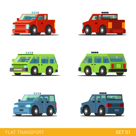 family van: Flat 3d isometric funny road transport icon set. Van sedan hatchback offroad SUV family car. Build your own world web infographic collection. Illustration