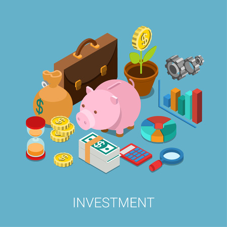 Flat 3d isometric investment, capitalization, money savings, finance web infographic concept vector. Piggy bank, coin flower plant, money bag, sand clock, cogwheel, chart graphic report, briefcase. Çizim
