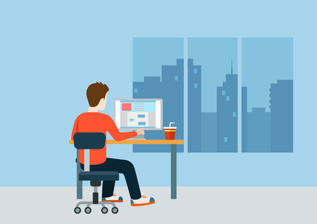 designer: Web designer programmer coder on workplace over modern city blank background template mockup concept flat 3d web isometric infographic vector. Creative people collection.