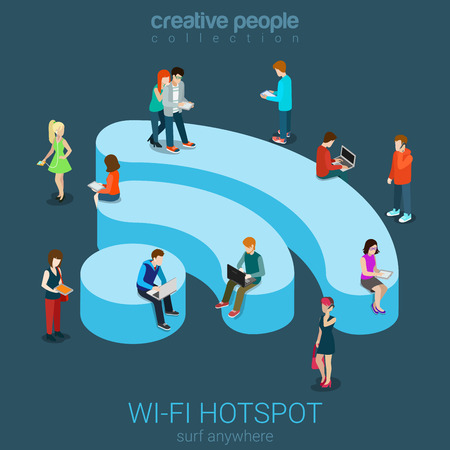 connecting: Public free Wi-Fi hotspot zone wireless connection flat 3d isometric web banner template. Creative people surfing internet on WiFi shaped podium. Technology globalization and reachability.