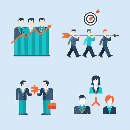 liderazgo: Estilo Flat gente moderna iconos de negocios situaciones hombre Plantilla Web vector de infografía conjunto de iconos. Mujeres iconos de estilo de vida del hombre de negocios. Asociación El trabajo en equipo conexión liderazgo estructura organizativa